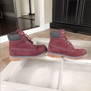 Maroon Timberland Boots Never Worn